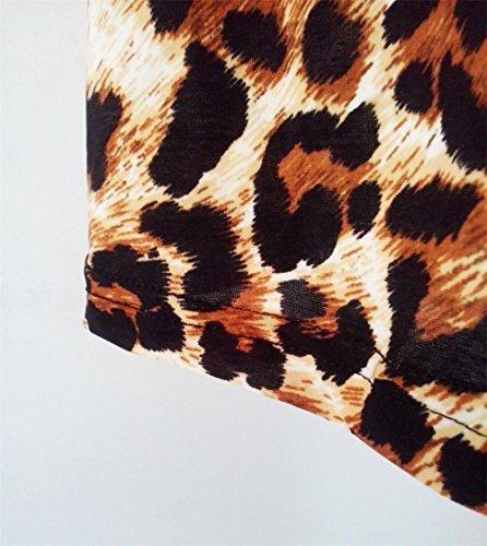 ocasional las Playa mangas camiseta PZJ® señora Leopardo Vestido Para Vestido Casual Verano mujeres de floral de Vestido de vestido Mujer de vestido verano Leopardo mini de estampado de qP7n6q0