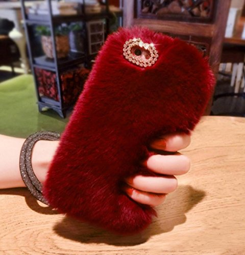 Losin Plush Case Compatible with Apple iPhone 7 Plus / iPhone 8 Plus 5.5 Inch Fashion Luxury Diamond Bowknot Cute Fuzzy Furry Winter Rabbit Hair Warm Plush Fluffy Fur Soft ()