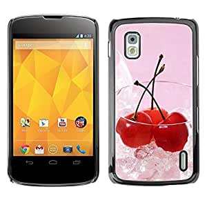 LECELL -- Funda protectora / Cubierta / Piel For LG Google Nexus 4 E960 -- Fruit Macro Ice Cherry --