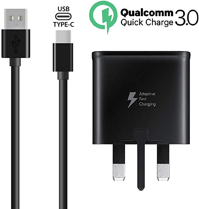 Type C Data Cable For Samsung Galaxy S8,S9 UK Mains Charger DUAL USB Wall Plug