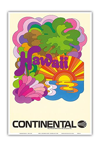 Hawaii - Continental Airlines - Psychedelic Art - Vintage Airline Travel Poster c.1960s - Hawaiian Master Art Print - 13 x 19in