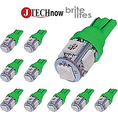 Jtech 10x 194 168 2825 T10 5-SMD Green LED Car Lights Bulb: Automotive