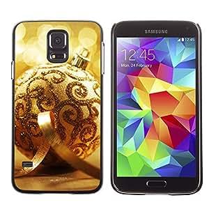 YOYO Slim PC / Aluminium Case Cover Armor Shell Portection //Christmas Holiday Gold Decoration Ball 1167 //Samsung Galaxy S5