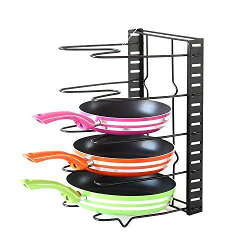 AKitchen Adjustable Pan Organizer Rack, Foldable Pot Racks for Kitchen Pot Lid Holder Lid Rest Pan Rack Lid Organizer Bakeware Holder Cookware Organizers Kitchenware Rack