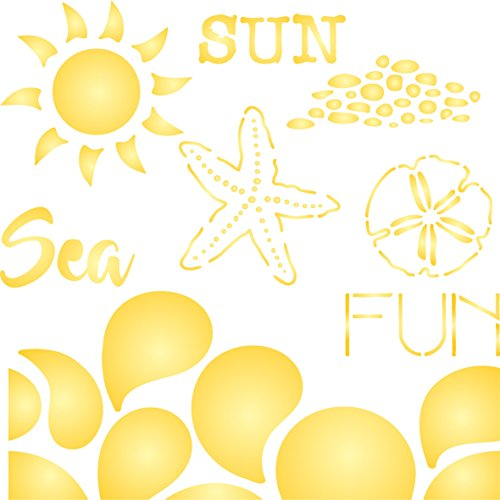 """Sun Sea Fun Stencil - (size 6.5""""w x 6.5""""h) Reusable Wall Stencils for Painting - Best Quality Template Allover Wallpaper ideas - Use on Walls, Floors, Fabrics, Glass, Wood, and More…"""
