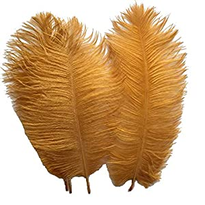 Sowder 20pcs Natural 10-12inch(25-30cm) Ostrich Feathers Plume Wedding Centerpieces Home Decoration(Golden) 39