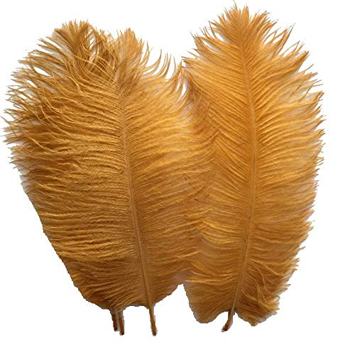 Sowder 20pcs Natural 10-12inch(25-30cm) Ostrich Feathers Plume Wedding Centerpieces Home Decoration(Golden) - Topper 11 Inch