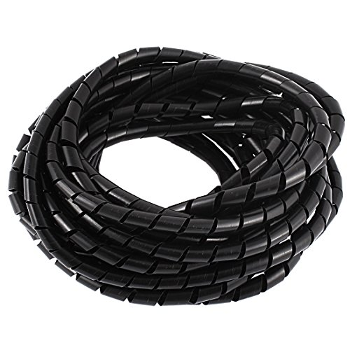 Uxcell a15121900ux2022 8M 25ft 8mm Black Wire Spiral Wrap Sleeving Band Tube Cable Protector
