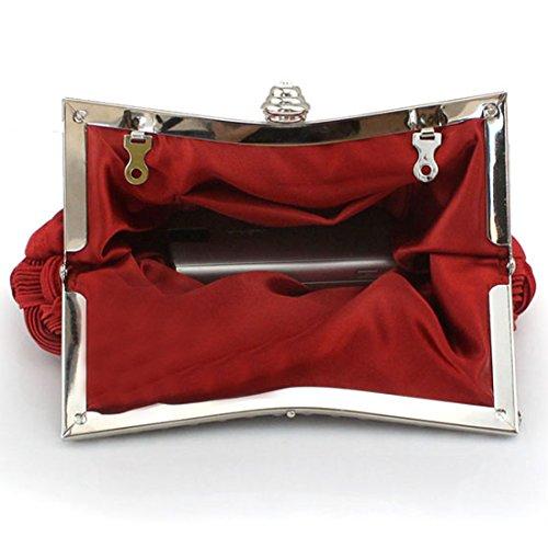 Rhinestone Red Clutch Purse Evening Studded Wedding Bridal Bridesmaid qPwnxqU4Cr
