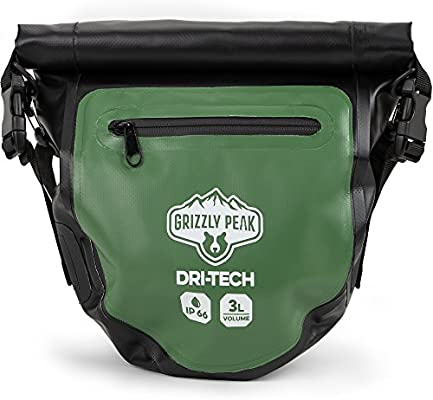 IP 66 Lightweight Roll-Top Dry Bag with Shoulder Straps /& 5 Outer Pockets Grizzly Peak Dri-Tech Waterproof Dry Backpack Protects Valuables /& Belongings Brybelly Holdings Inc SOEQ-606
