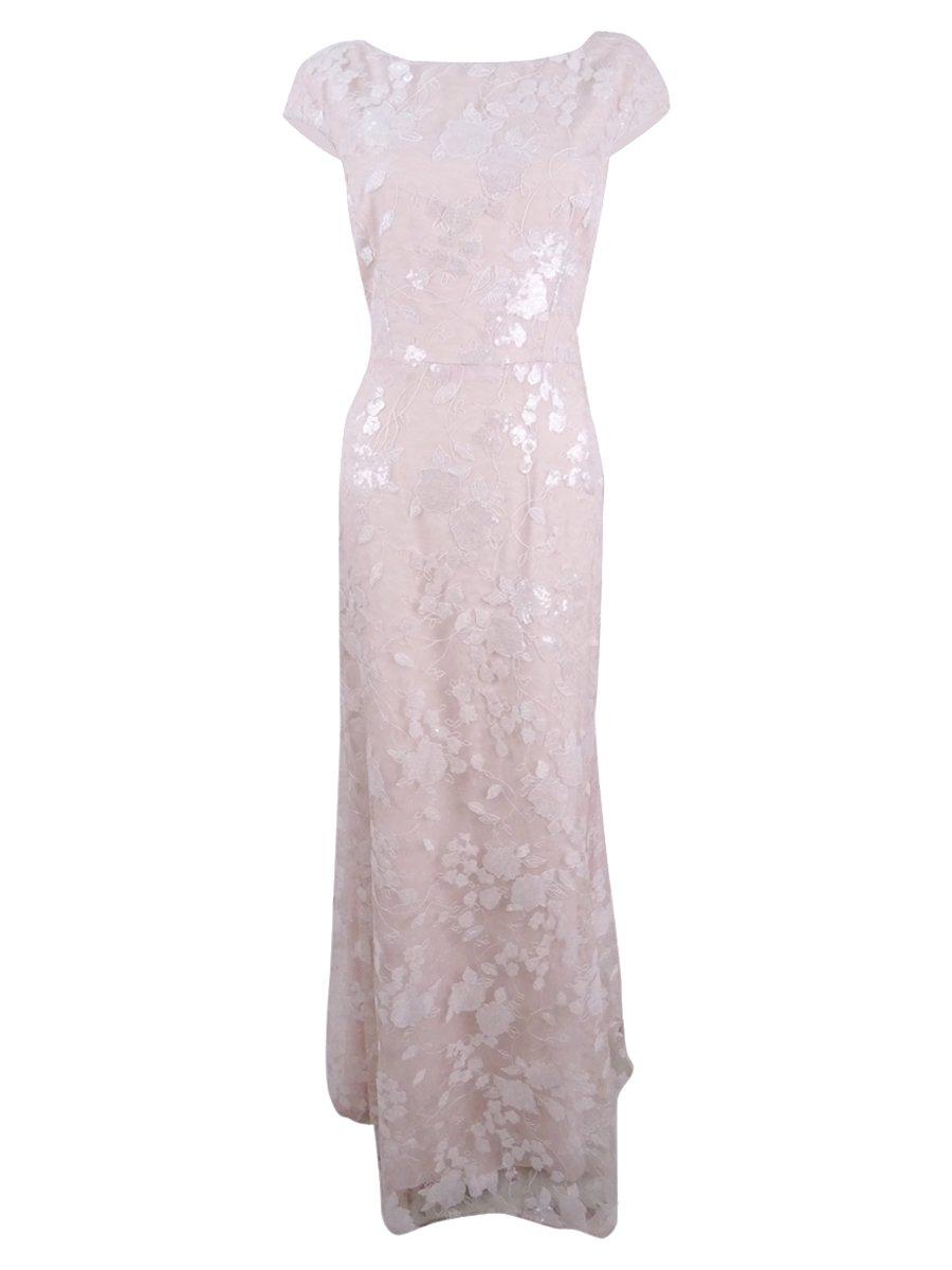 Vera Wang Women's Sequins Chiffon Gown, Natural/Pink, 8