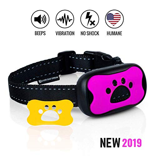 EU Everyday Urban Dog No Bark Collar - Anti Barking Vibration Control Device for Small Medium Large Dogs - Puppy Training Deterrent - No Shock 2018 Model - Fast Results! (Best No Bark Collar For Beagles)