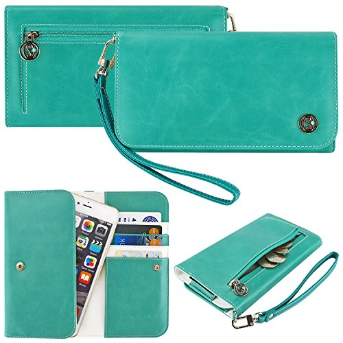 Case+Stand PU Leather Purse/Clutch/Pouch/Wallet Fits Apple HTC LG Motorola ZTE etc. Universal Women's Cute Wristlet Strap Flip Case Teal/Mint/Turquoise/Light Blue/Green Small Fits the Models below: