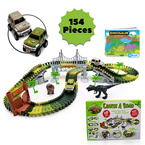 (Dinosaur Toys Race Car Track Playset - Train Track for Boys Age 3, 4, 5, 6 year old & Up - 154pcs | Includes 2 Dinosaurs + 2 Toy Race Cars | Jurassic World Park for Kids | Free Toddlers Coloring eBook)