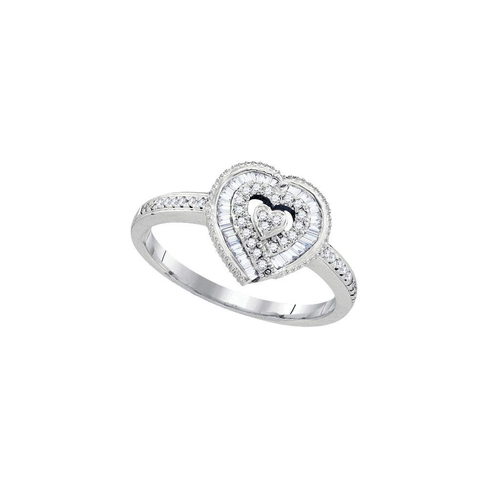 10kt White Gold Womens Round Diamond Heart Love Ring 1/4 Cttw (I2-I3 clarity; J-K color)