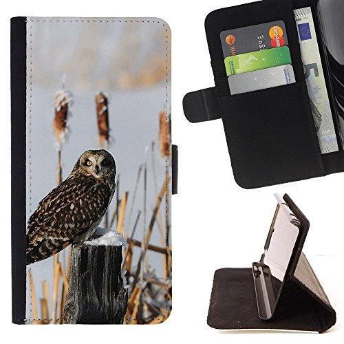 God Garden - FOR Apple Iphone 6 - Owl Bird Winter Tree Stump - Glitter Teal Purple Sparkling Watercolor Personalized Design Custom Style PU Leather Case Wallet Fli