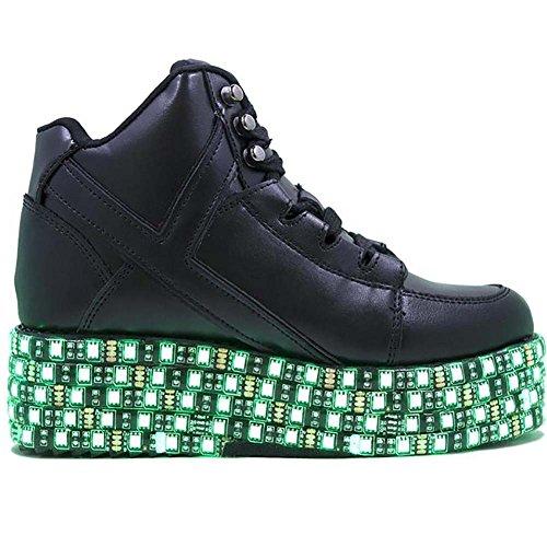 Yru Yru Qozmo Lo Bondage - Zwarte Multi-strap Mega Platform Wedge Sneaker Zwart