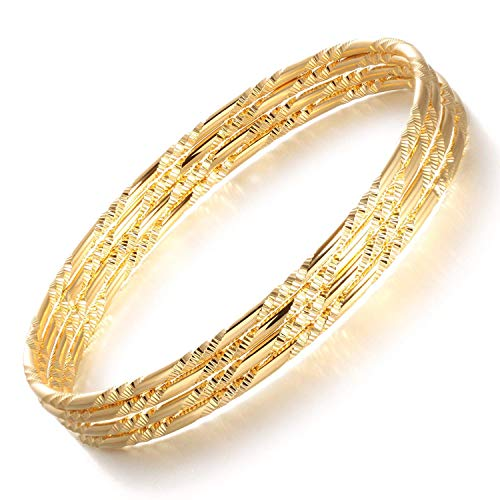 MENILITHS Jewelry Surf 18K Yellow Gold Plated Bangle Bracelet Four-Piece Set Noble Women Jewelry,7.48