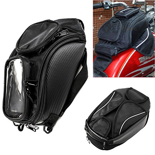 Motorcycle Tank Bag Oxford Waterproof Magnetic Saddlebag with Big Window Black Universal Rear Seat Saddle Bag Travel Tool Tail Luggage