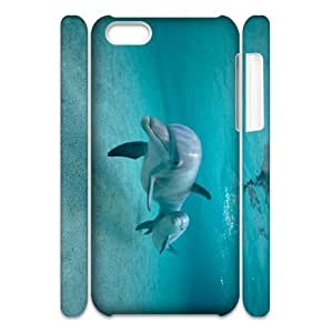 Cell phone 3D Bumper Plastic Case Of Dolphin For iPhone 5C