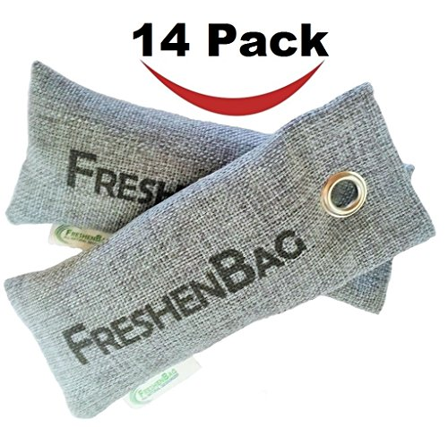 Freshenbag Natural Air Freshener - Eco Friendly Odor Eliminator - Moisture Absorber - Activated Bamboo Charcoal - Shoe Deodorizer, Car Deodorizer, Closet or Room Air Purifier - By OLIVIA & AIDEN
