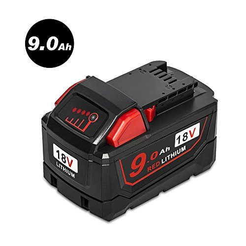 Mrupoo 18V 9000mAh Red Lithium-Ion Replacement Battery for Milwaukee M18 XC 48-11-1890 High Demand Cordless Power Tools 48-11-1850 48-11-1828 9.0Ah Capacity Battery Pack by Mrupoo