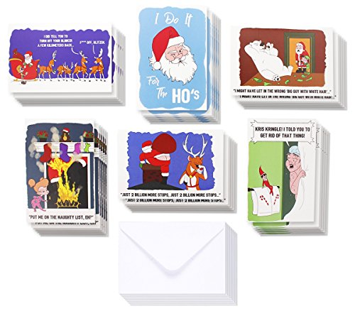 36-Pack Merry Christmas Greeting Cards Bulk Box Set - Inappropriate Winter Holiday Xmas Greeting Cards with Funny Comic Illustrations, Envelopes Included, 4 x 6 Inches