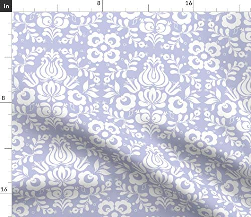 Blue Violet Damask Fabric - Ingela In White On Blue-Violet Traditional Pattern Purple Lavender Folk Art Print on Fabric by the Yard - Petal Signature Cotton for Sewing Quilting Apparel Crafts Decor