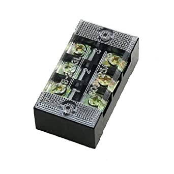 uxcell 600V 25A 2 Rows 3P 3 Positions Covered Barrier Screw Terminal Block