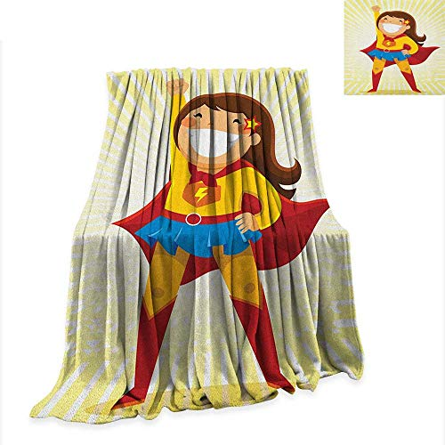 Anyangeight Superhero Digital Printing Blanket Courageous Little Girl with a Big Smile in Costume Standing in a Heroic Position 80