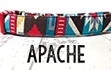 Apache - Chocolate Brown Red Teal Bohemian Bold Colorful Southwestern Organic Cotton Pet Collar