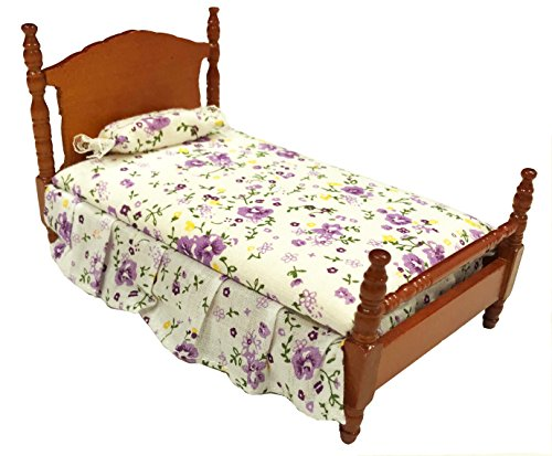 Inusitus Miniature Dollhouse Bed - Dolls House Furniture Queen Bed - 1/12 Scale (Medium)