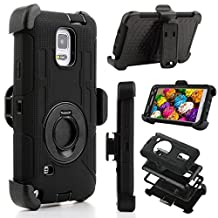 Samsung Galaxy Note 4 Case, Jwest Full-body Protective Rugged Holster Tough Dual Armor Overlay Case Cover for Galaxy Note 4 With Rotatinge Kickstand Belt Swivel Clip Black