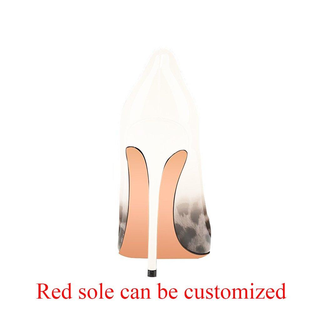 Modemoven Women's Pointy Toe High Heels Slip On Stilettos Large Size Wedding Party Evening Pumps Shoes B07234DSCC 11 B(M) US Gray Leopard