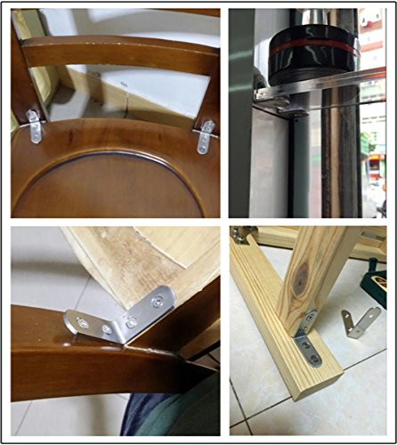 SANSUM 20pcs Corner Brace Bracket 1.6 inch Stainless Steel Brace Corner Steel Joint Right Angle Bracket Fastener with Screws