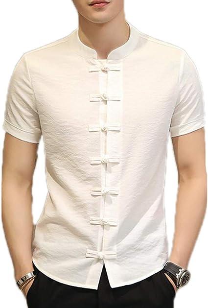 Estilo Chino Kung Fu Camisas Hombre Verano Nuevo Slim Slim Slim Manga Corta Camisas: Amazon.es: Ropa y accesorios
