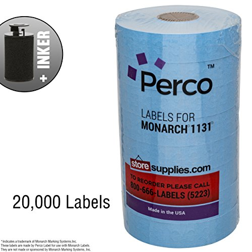 Blue Pricing Labels for Monarch 1131 Price Gun – 8 Rolls, 20,000 Pricemarking Labels – with Bonus Ink Roll by Perco