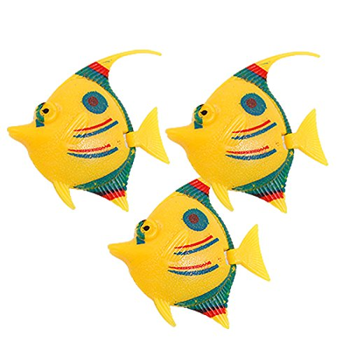 uxcell 3-Piece Plastic Fish Tank Wiggled Tail Fish Décor Set, Tri Color