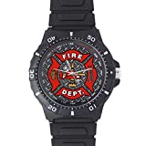 100% Plastic Quartz Watch Cool Fireman Emblem on