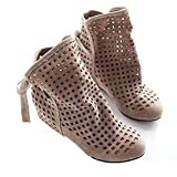 Women Autumn Fashion Roma Casual Flock Flat Hollow Out Slip On Low Hidden Wedge Summer Ankle Boots Beige 9 B(m) Us/eu 40 | amazon.com