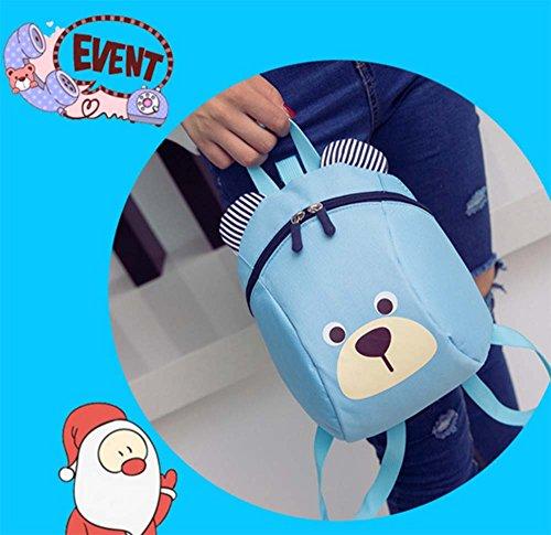 Baby Cute Bear Rucksack, Kindergarten Buch Tasche Kinder Harness Bag mit Sicherheit Zügel Gürtel für Jungen Mädchen Hellblau