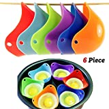Silicone Egg Poachers - High Quality Egg Poacher Cups - Set Of 6 Easy Clean Poaching Pods - Perfect Poached Eggs In Minutes - FDA Approved - BPA Free and Dishwasher Safe.