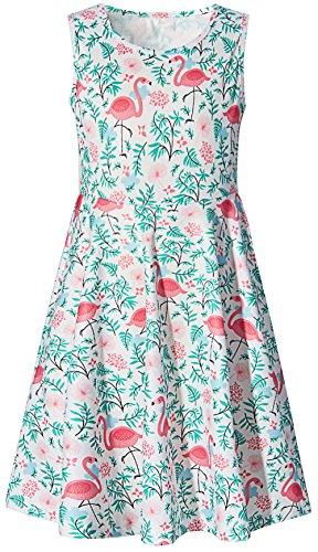(Girls Cute Flamingos Printed A-Line Sleeveless Dresses for Casual)