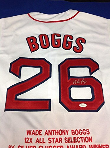 (Wade Boggs Autographed Jersey - STAT W680141 - JSA Certified - Autographed MLB Jerseys)