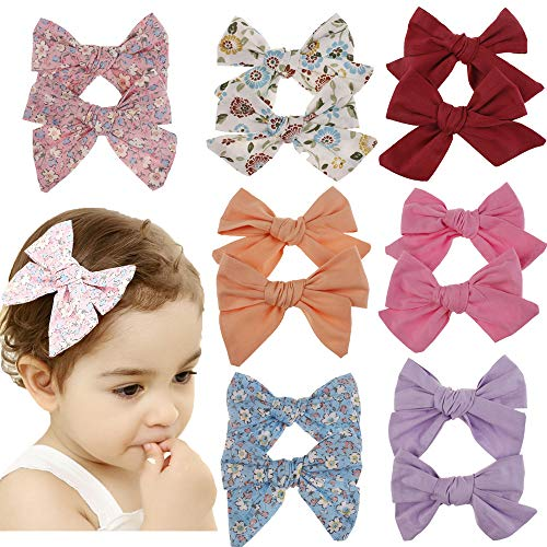 Baby Girl Hair Bow Set Spring Floral Print Bows Headbands Clips Alligator Hair Clips for Toddlers Kids (Multicoloured Big Bow MQMQ49) ()