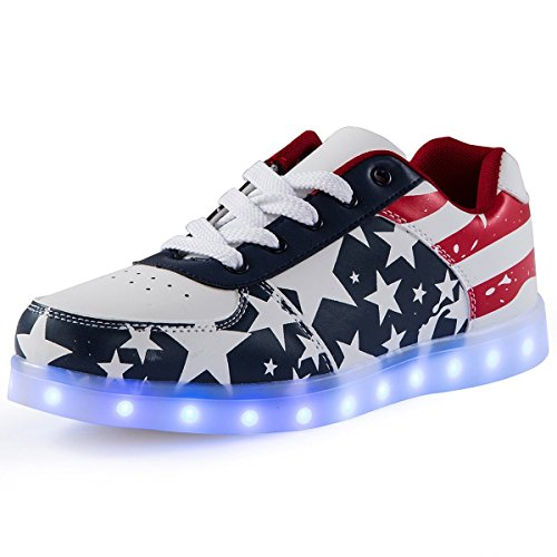 sexphd Women Men USA Flag Light Up Shoes USB Charging LED Shoes (Blue 41) -