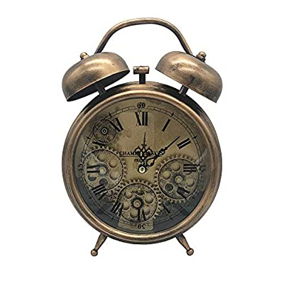 "Ucreative Antique Table Clock Gear Home Decor 5.9"" x 10.6"" - Material: metal and plastic Powered By: 3x AA Battery (Not Included) Dimensions: 10.6""H and 5.9""W - clocks, bedroom-decor, bedroom - 51I3wlPM3vL. SS400  -"