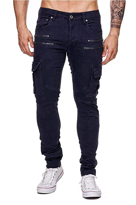 4517a5e5cc84 Herren Jeans Hose Biker Cargo Pants Stretch Tapered Leg  Amazon.de   Bekleidung
