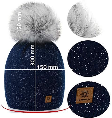 Beanie marino Bobble forro Cap Pom de Color azul nieve falso Ski la punto Grande Sombrero con de polar de Snowboard de Forro de lana invierno 4sold mujer PqSZFw