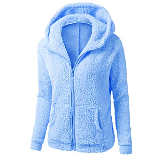 cerniera maglione cappotto casual Riou calda lana cotone con con Giacca in con donna inverno blu cappuccio cappuccio outwear qSYXv